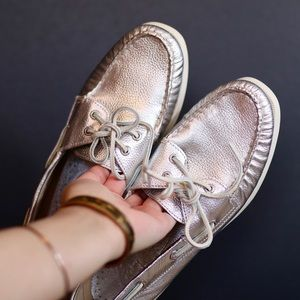Metallic Silver Sperry Top-Sider